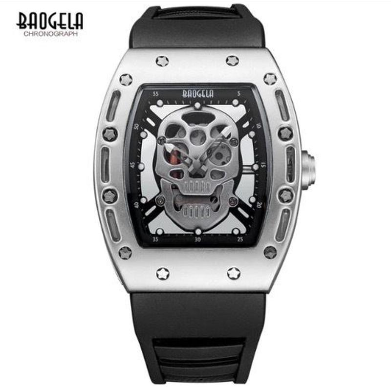 Baogela スカル腕時計 ドクロ柄 メンズ ルミナスハンズ クォーツ ミリタリー