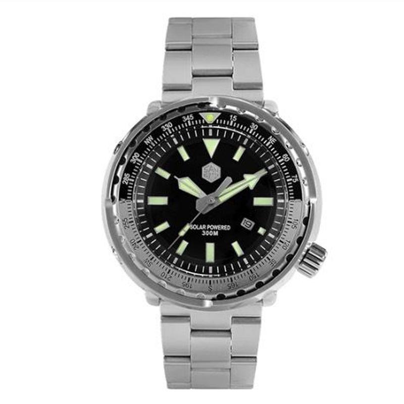 San Martin メンズ クォーツ腕時計 ツナ缶スタイル 300m防水 48mm ステンレス/ラバーバンド