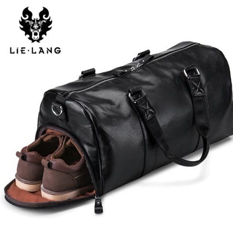 LIELANG シューズポケット付きレザートラベルバッグ