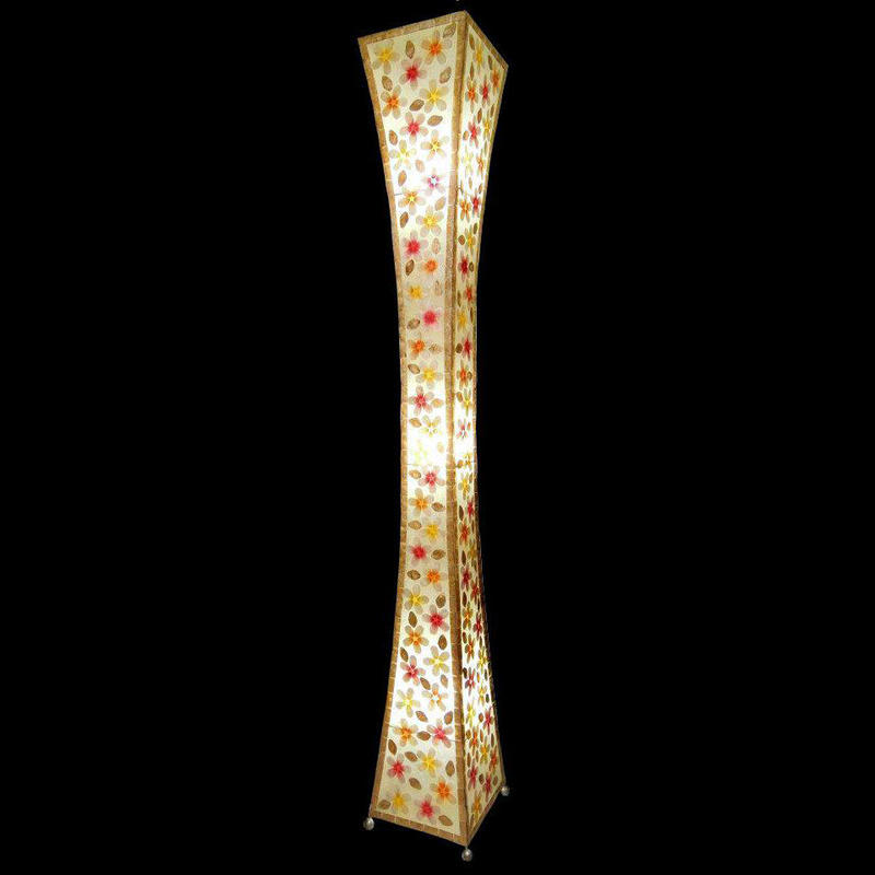 シェルフロアタワーランプ 100cm 《 Flower Yellow×Orange×Pink フラワー黄×オレンジ×ピンク 》