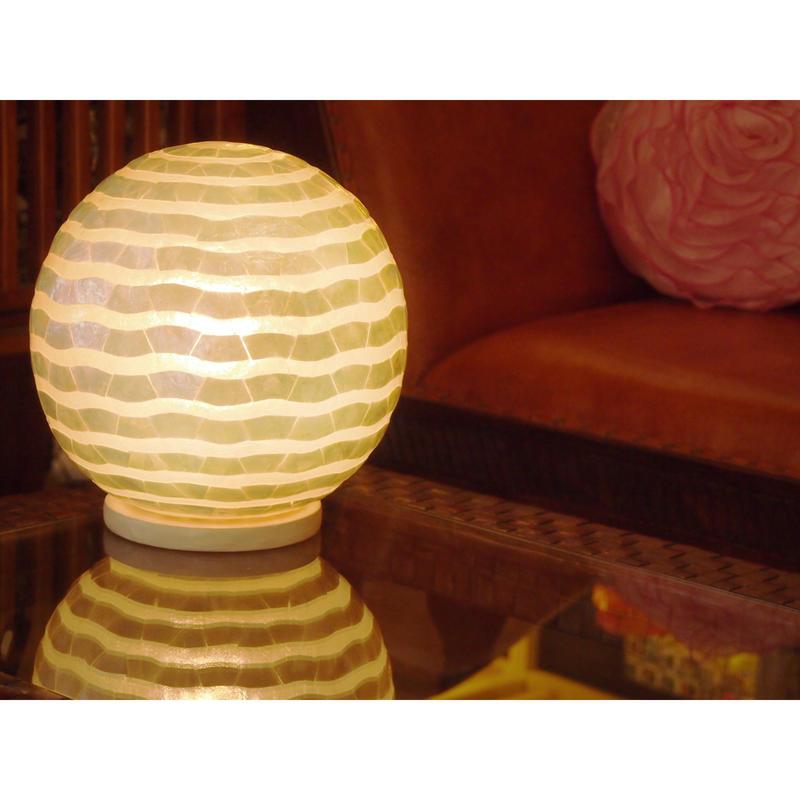 シェルボールランプ Ф22cm 《 Wave White ウェーブ ホワイト 》( テーブル / シーリング )