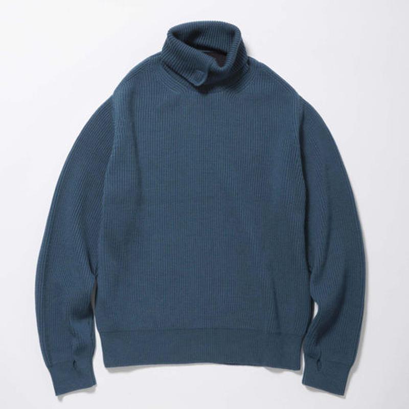 Open Collar Turtleneck Sweater/SKY [MW-KT17201]