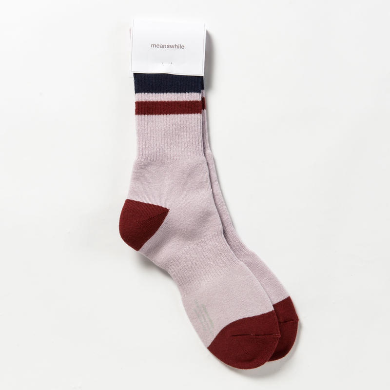 Pile Line Socks/PURPLE x WINE [MW-AC18110]