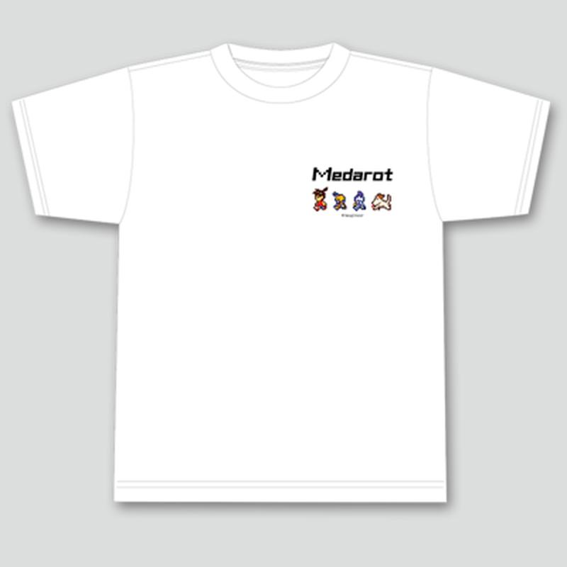 【3月発送】メダロットTシャツ_ドット絵柄_ホワイト -MDSTR007-