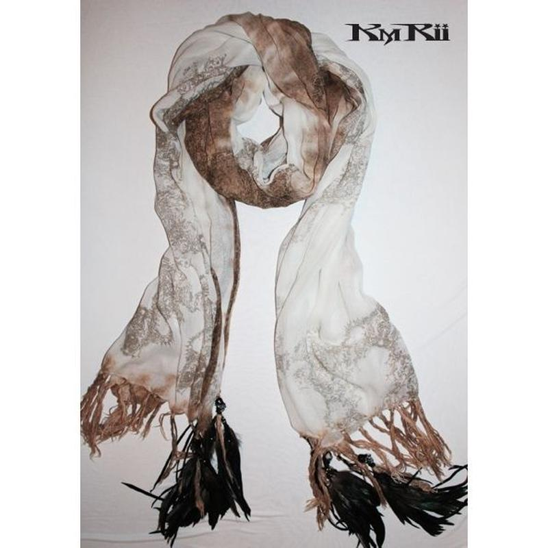 KMRii ・ケムリ・2016 A/W ・ MAGNOLIA POWDER STORM STOLE・フェザー ストール