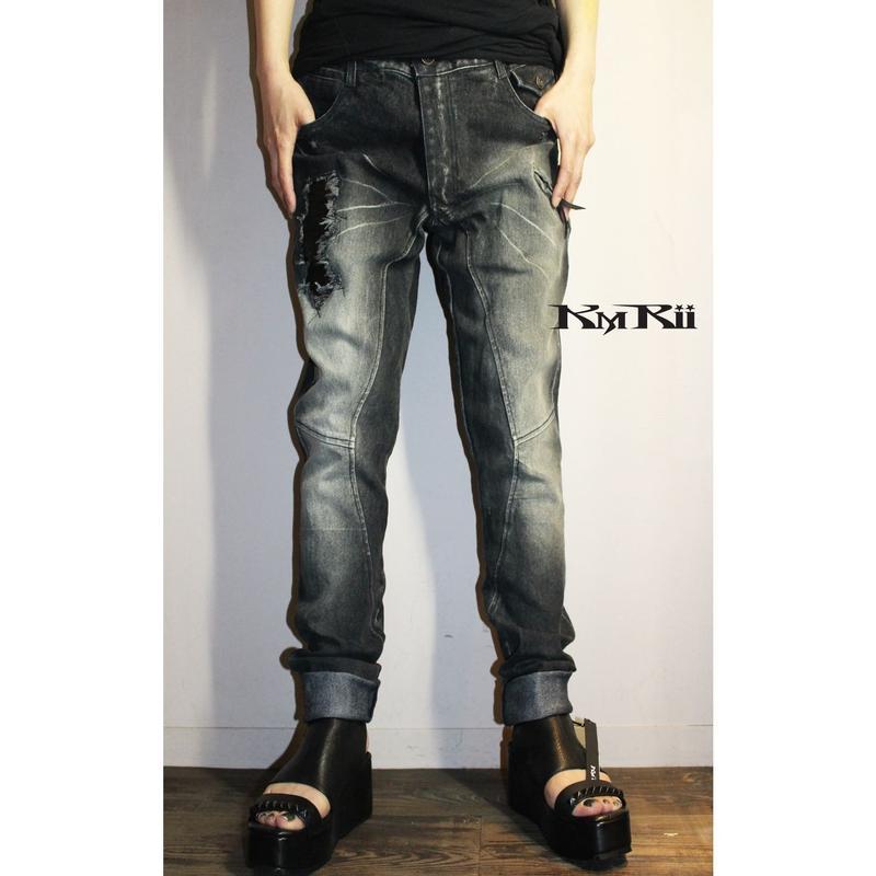 KMRii ・ケムリ・CRUSH SLIM DENIM 2018・ブラック・デニム・パンツ