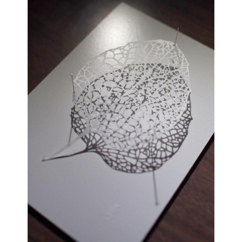 立体切り絵額「桐の葉」Paper-cutting Leaf