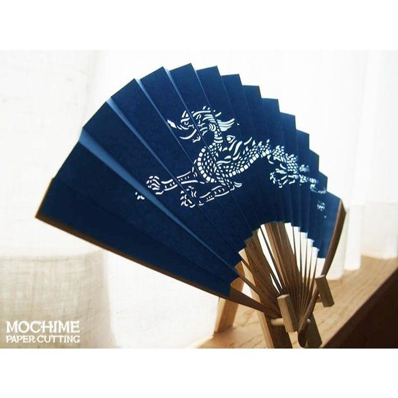 切り絵京扇子「龍扇」青 Paper-cutting Fan Blue Dragon