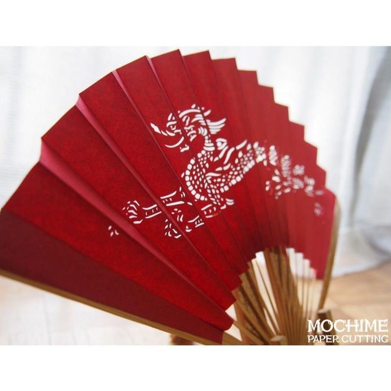 切り絵京扇子「龍扇」赤 Paper-cutting Fan Red Dragon