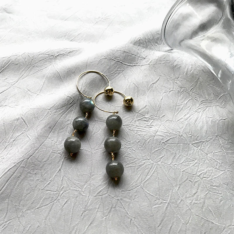 Hoop Pierced Earrings - Labradorite