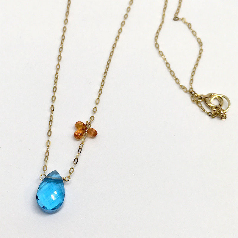 Swiss Blue Topaz & Orange Sapphire K10 Necklace