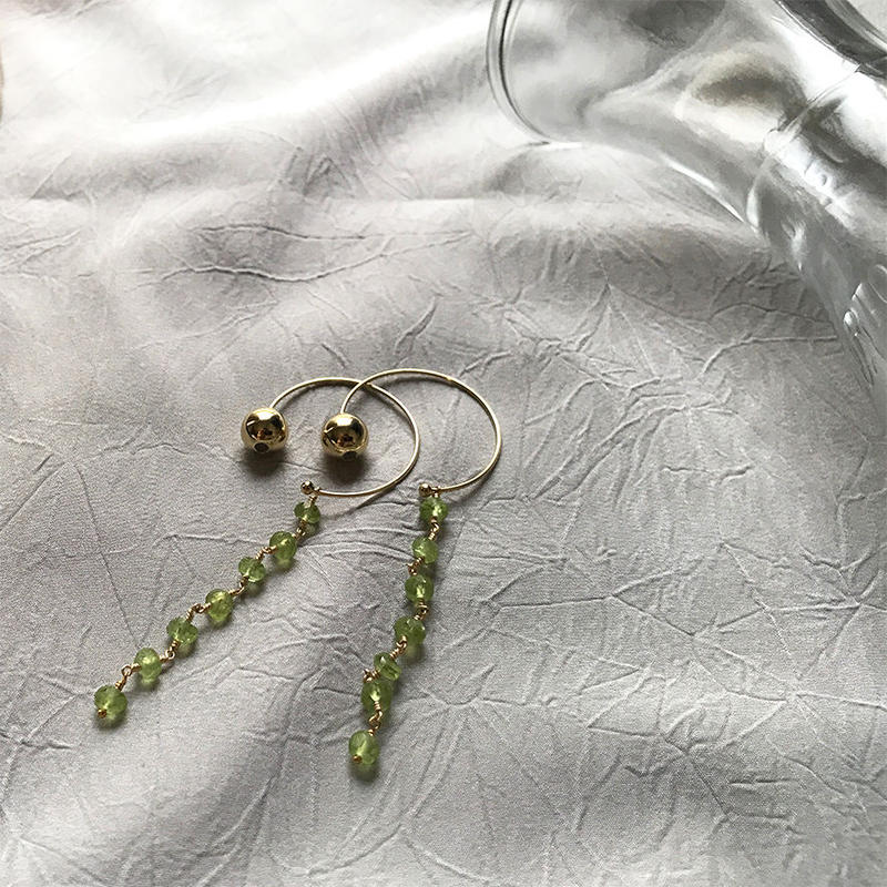 Hoop Pierced Earrings - Peridot