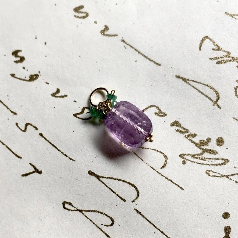 Amethyst, Emerald & K10YG Charm