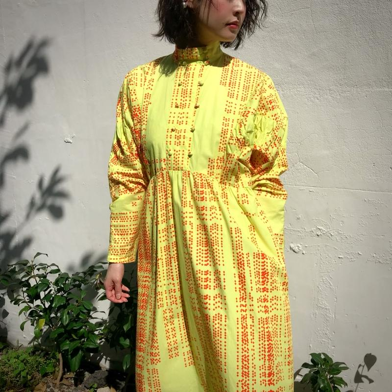 accidentconflores silk screen print yellow dress