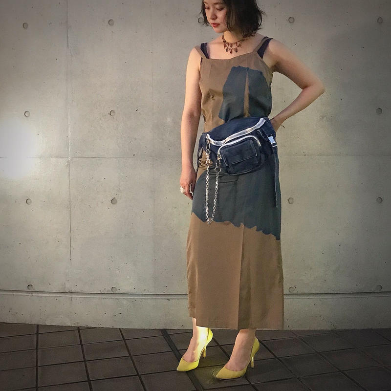jean genie & hungry freaks,daddy TULLE PRINT LONG DRESS