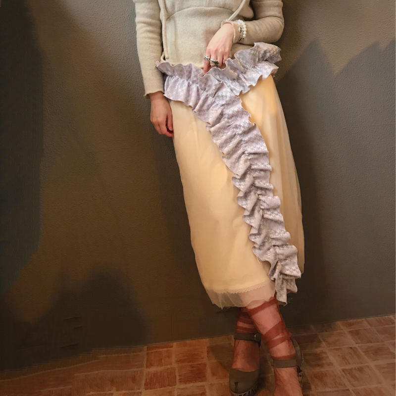 【CAl2IE】NUDE RUFFLE TRIM PENCIL TULE SKIRT