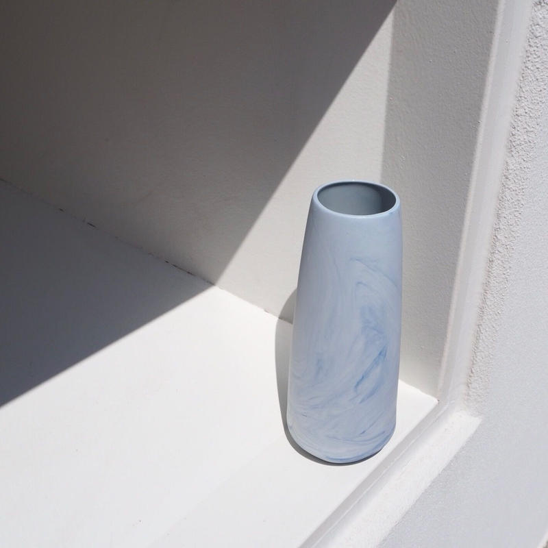 ANNE JONES blue marble pillar vase