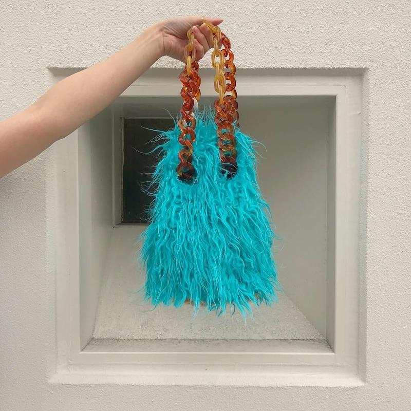 【pono'i×MELANGE】BLUE  fur bucket bag
