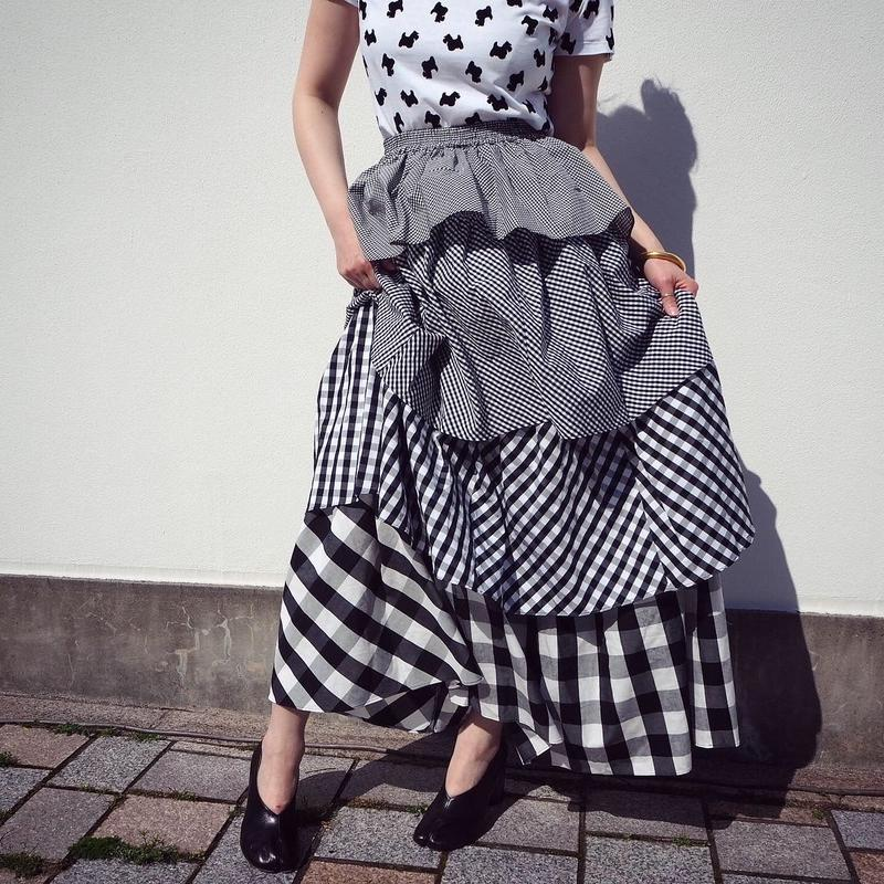SIIILON LOVE check skirt