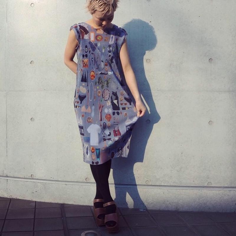 kotohayokozawa Print dress no sleeve