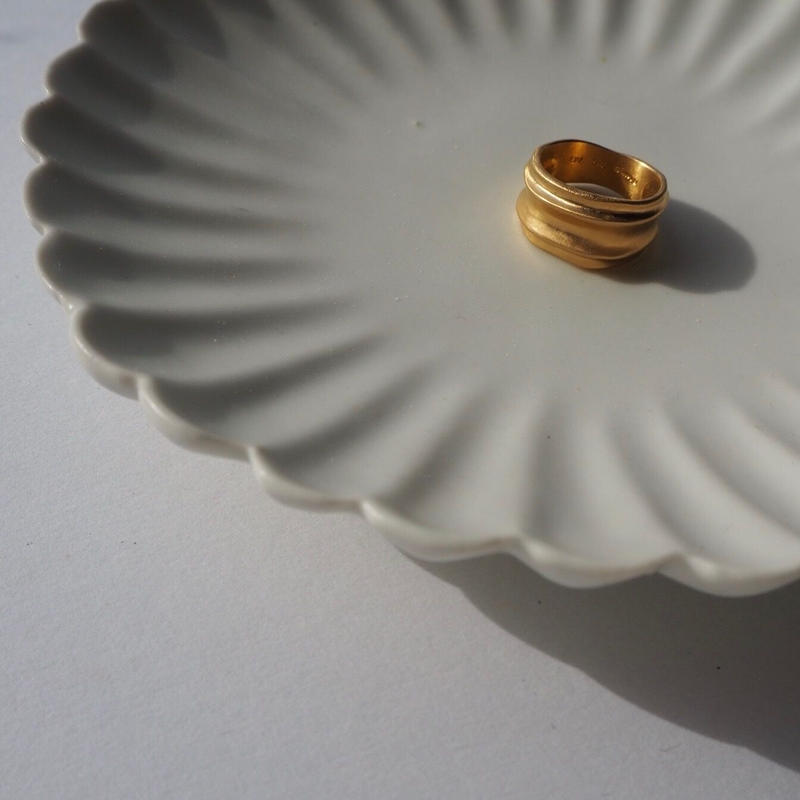 BJØRG nude and mirror ring gold