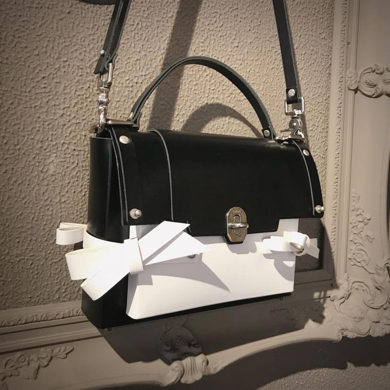 NIELS PEERAER 3BOW BAG(WHITE×BLACK)