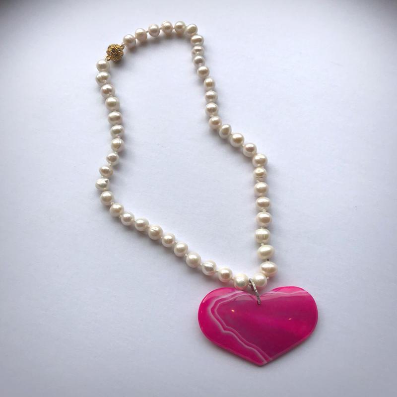 pono'i  baroque pearl×heart agate necklace