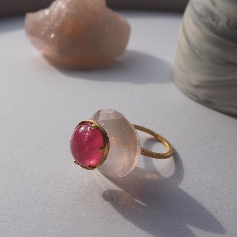 imago k18 rose quartz&pink tourmaline  ring