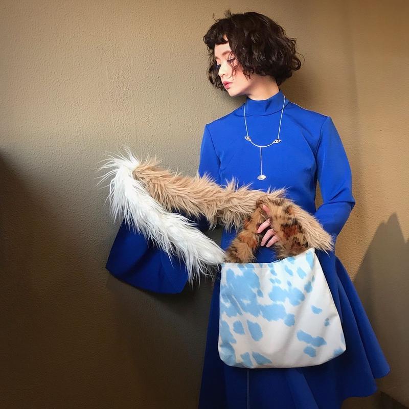 pono'i   cow pattern eco fur bag(blue)