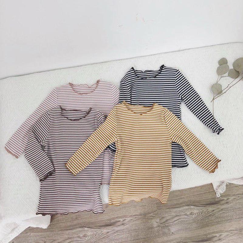 秋カラーボーダーコットンTシャツ(471)
