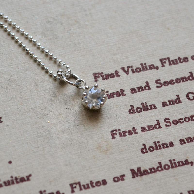 Milk Crown Necklace -Royal Blue Moonstone/Buff top cut-