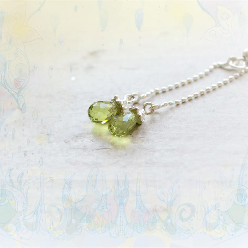 Tear Drop Pierced-Peridot4×6mm-