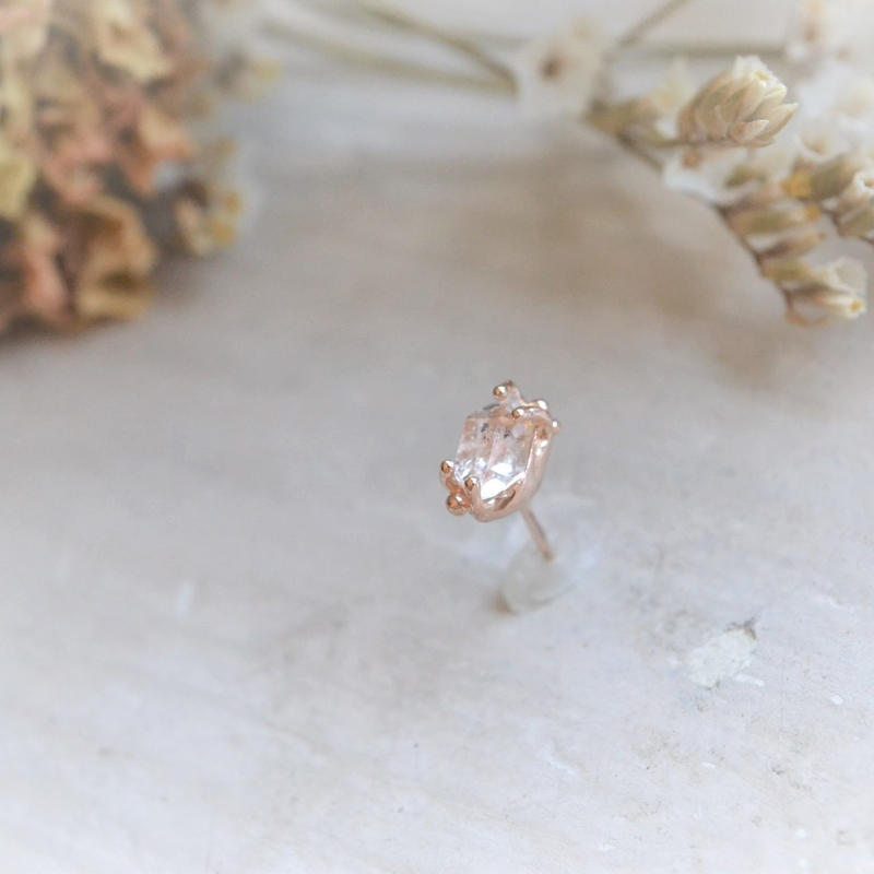 Herkimer Diamond  K10PG 一粒Pierced