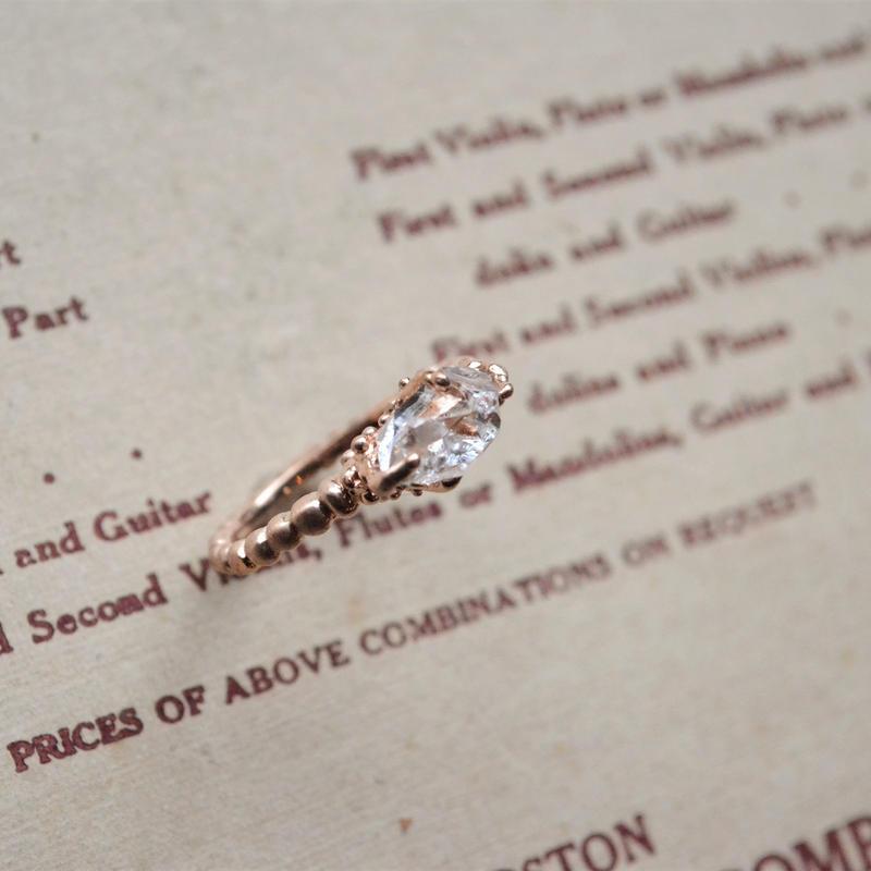 10-11mm Herkimer Diamond  - ピンクの指輪-