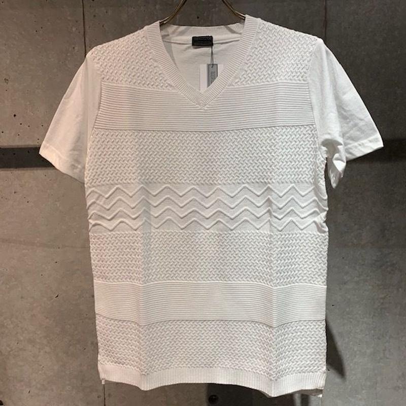 【Custom Culture】天竺×ニット コンビTシャツ ホワイト
