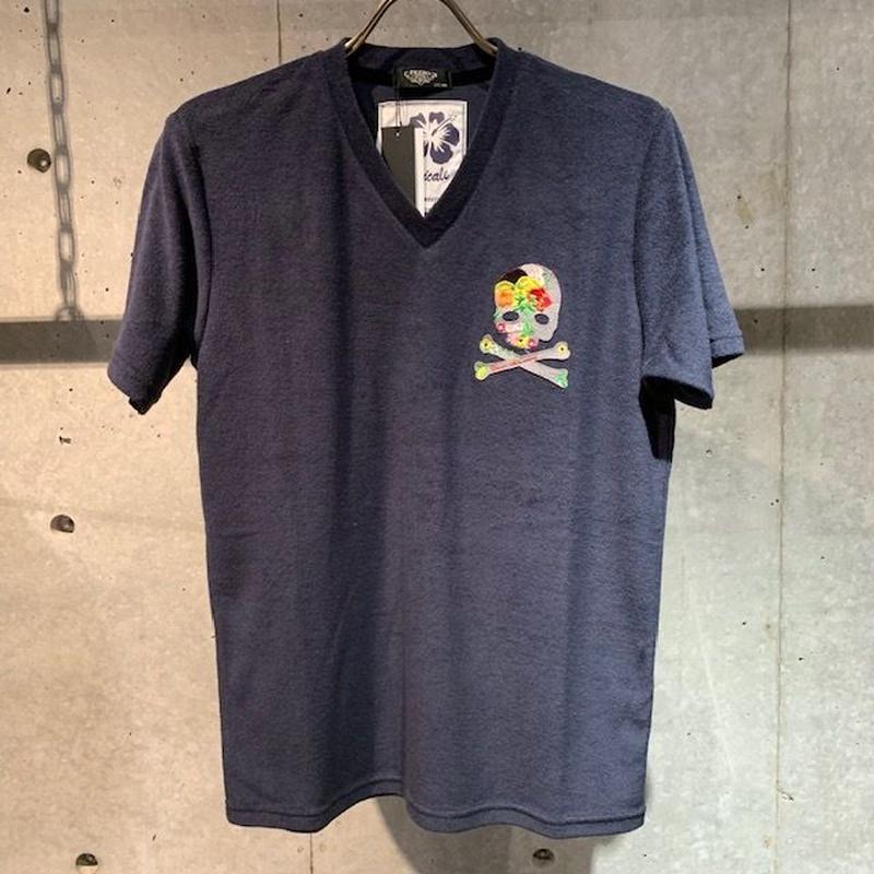 【PAZZO】スカル刺繍ワッペン付  パイルVネックTシャツ ネイビー
