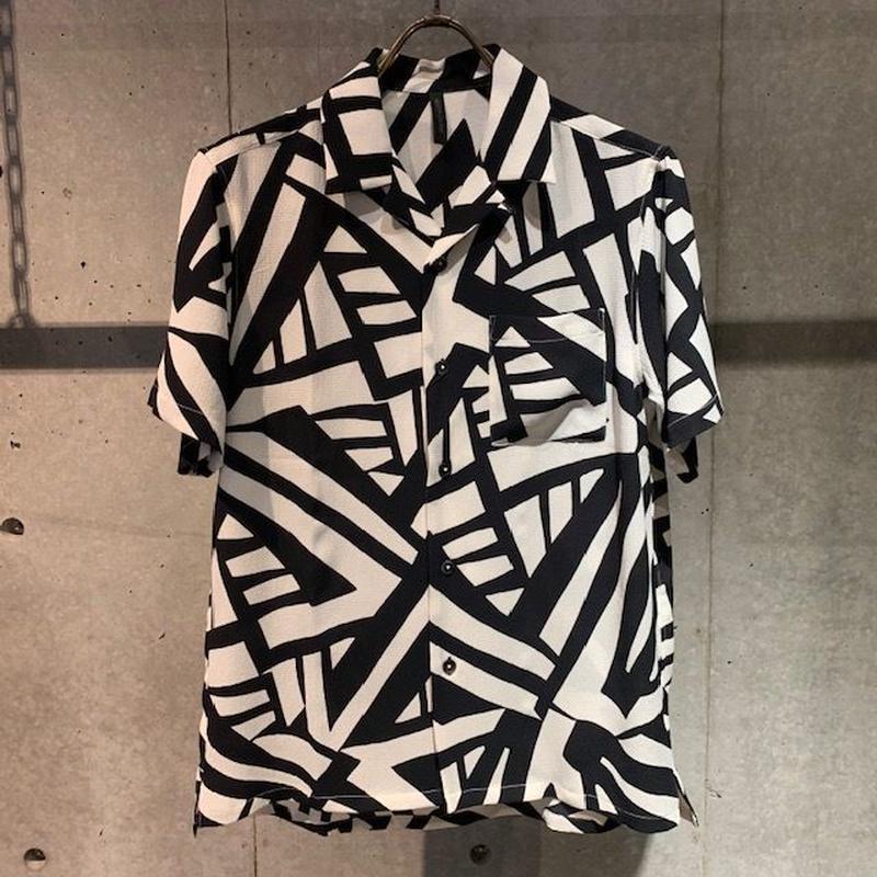 【Custom Culture】ジオメトリックオープンカラーシャツ ブラック