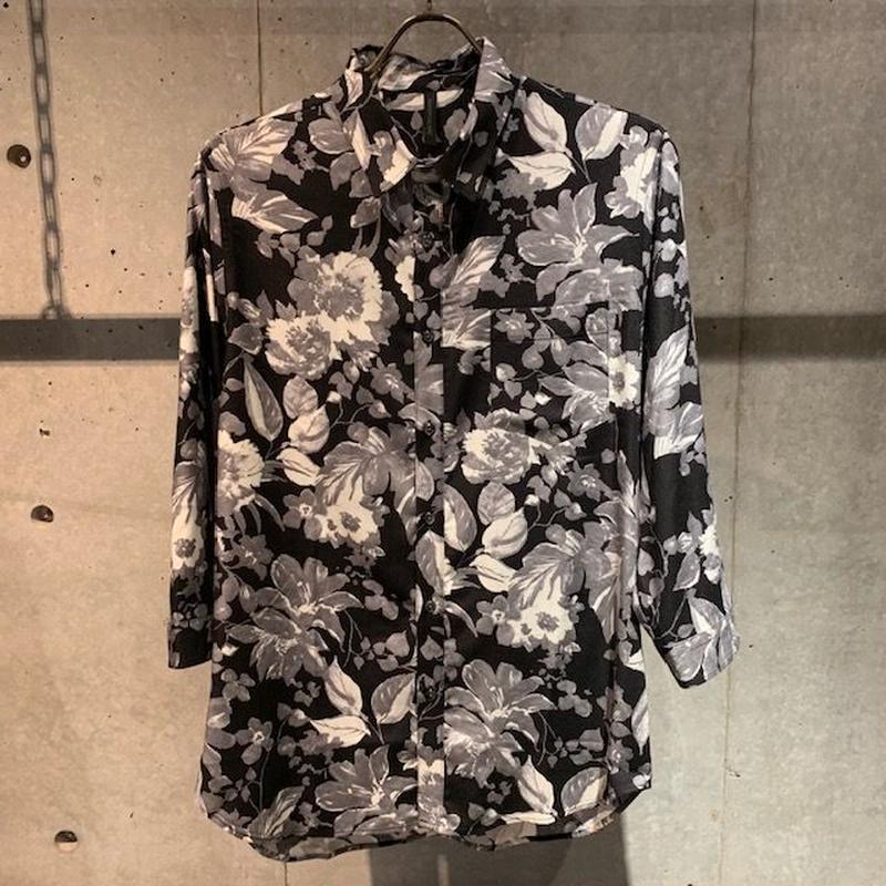 【Custom Culture】ボタニカルプリント七分袖シャツ ブラック