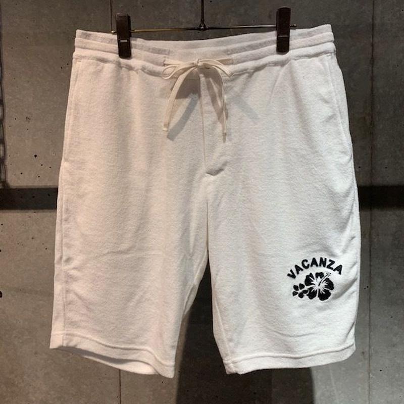 【PAZZO】ハイビスカス刺繍  パイルショーツ ホワイト