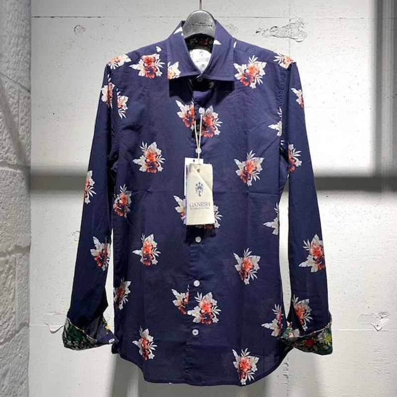 【GANESH(ガネーシュ)】パターンデザインシャツ ネイビー