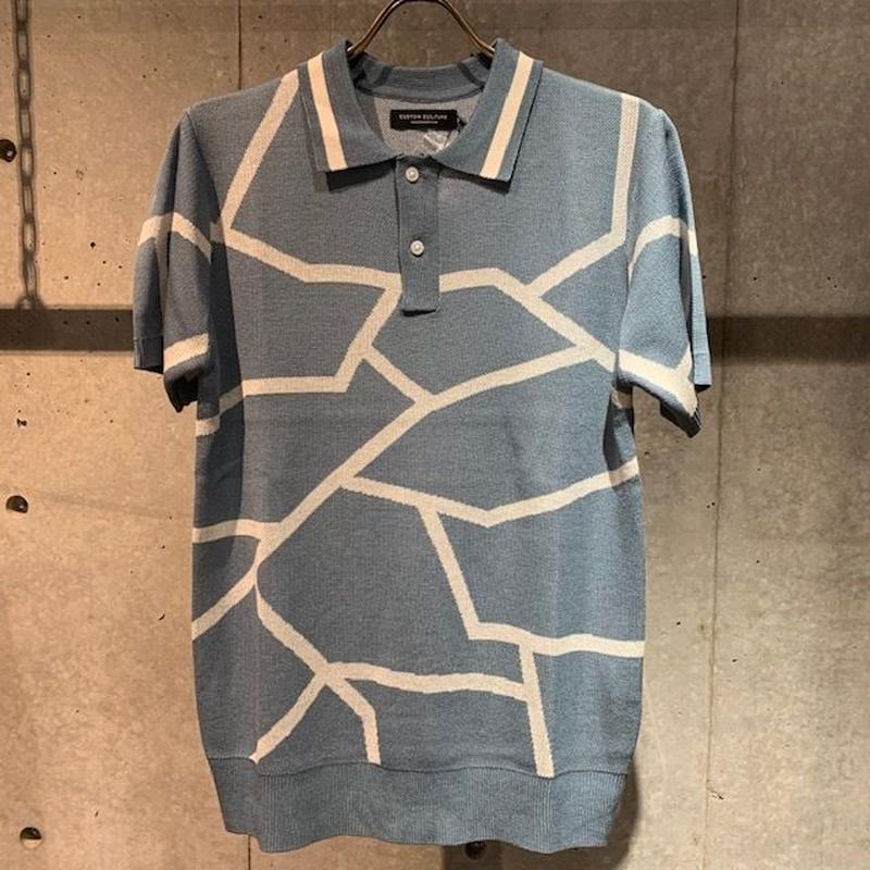 【Custom Culture】ランダムライン ジャガードポロシャツ ブルーグレー