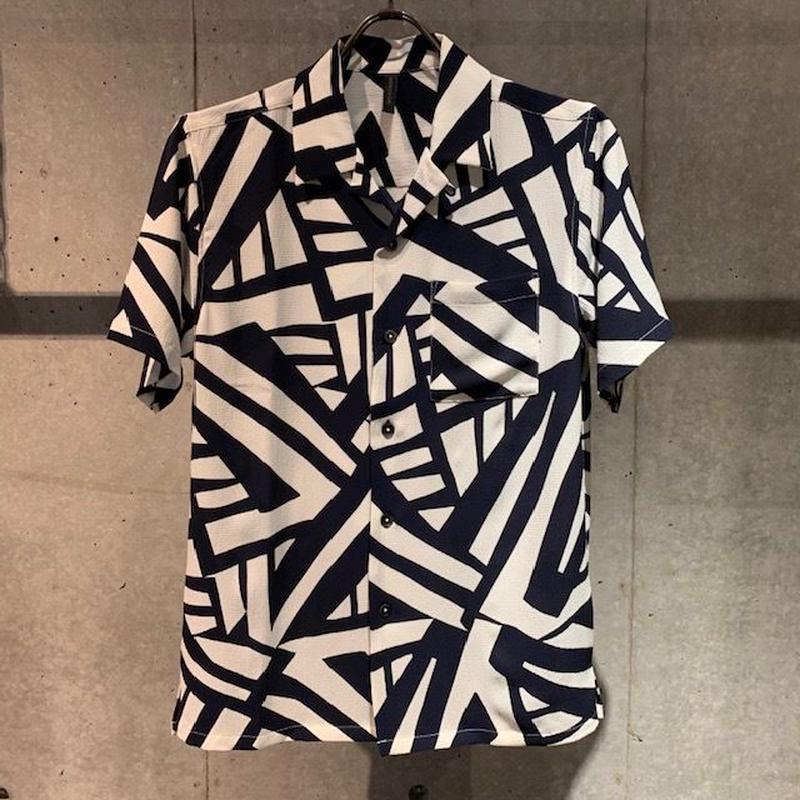 【Custom Culture】ジオメトリックオープンカラーシャツ ネイビー