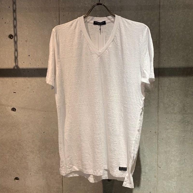 【Custom Culture】リネン天竺シルケット VネックTシャツ ホワイト