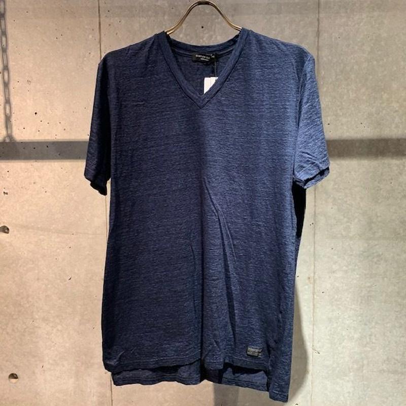 【Custom Culture】リネン天竺シルケット VネックTシャツ インディゴ