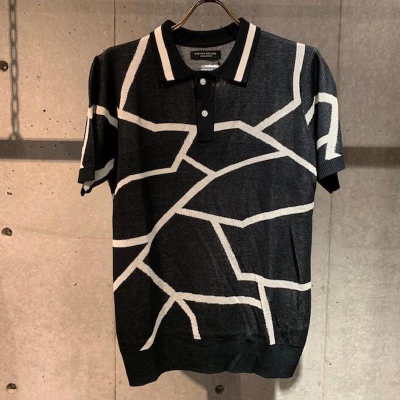 【Custom Culture】ランダムライン ジャガードポロシャツ ブラック