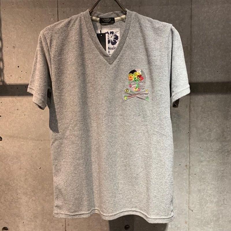 【PAZZO】スカル刺繍ワッペン付  パイルVネックTシャツ グレー