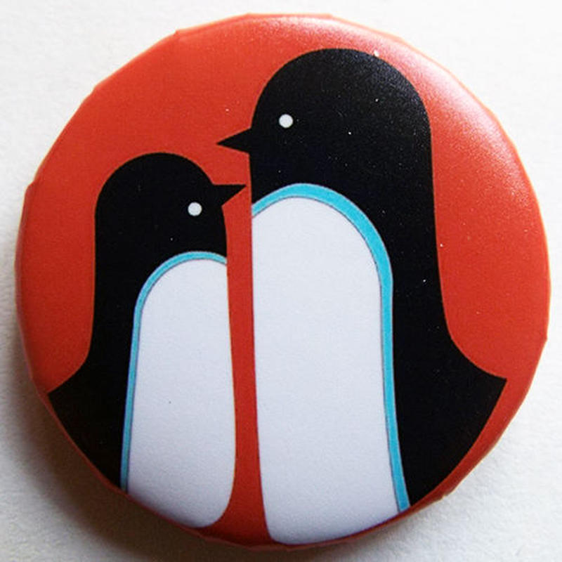 ペンギン親子ブルーライン缶バッチ(ピットアニマル)