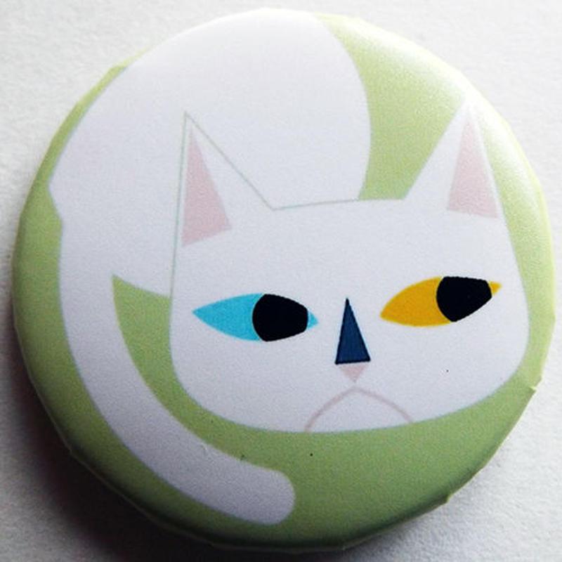 キャットホワイト缶バッチ(ピットアニマル)