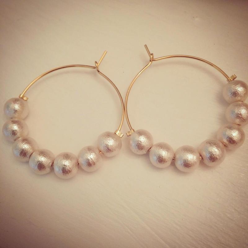 K14GF cotton pearl hoops...❤︎