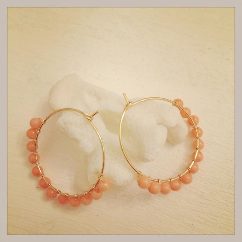 K14GF coral hoop earrings...❤︎